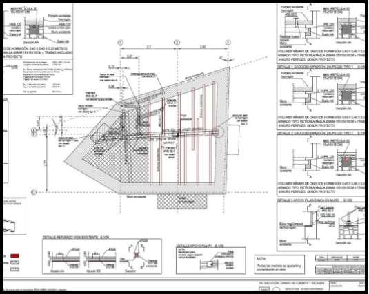 Proyecto de rehabilitación de cubierta y escaleras. Estructura de madera y acero. Plano de refuerzo de patologías de forjado. | ISOSTATIKA
