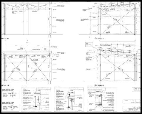 Proyecto de edificación industrial. Estructura de acero. Plano de pórticos. | ISOSTATIKA