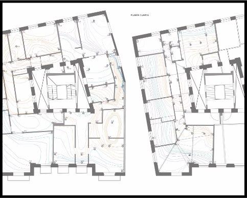 Informe Estructural edificio residencial. Patrimonio. Estructura de madera y fábrica. Plano de análisis de niveles suelo. | ISOSTATIKA