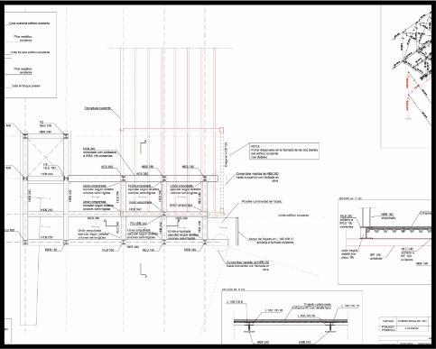 Proyecto de reforma de centro escolar. Estructura de acero. Plano de ascensor y pasarela (e interacción con estructura preexistente) | ISOSTATIKA